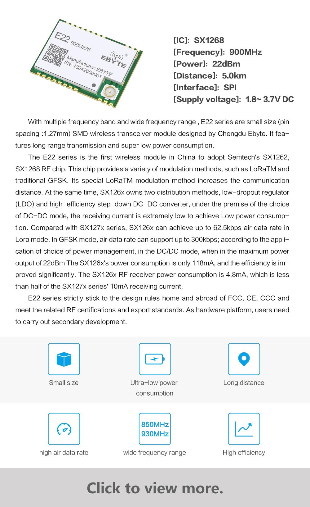 E22(900M22S)】SX1262/SX1268 wireless module/ New generation